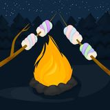 Bonfire with marshmallow - camping, burning woodpile flame fire background vector illustration. Flame fire background. Fiery and wooden matches logs and bonfire Royalty Free Stock Images