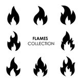 Flame and fire black icons. Set of 8 flame and fire black icons isolated on white background. Vector illustration Royalty Free Stock Photo
