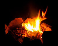 Flame fire on  black night background. Stock Photos