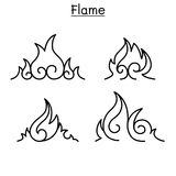 Flame, fire, burn vector in thin line style. Vector illustration graphic design Stock Image
