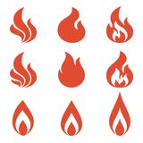 Flame of fire elements for logo design. Red silhouette style Stock Photography