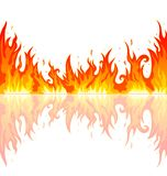 Flame of the fire. Flames burning fire. Abstract fire on a white background. Flame and its reflection Stock Photos
