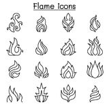 Flame, fire icon set in thin line style. Vector illustration graphic design Royalty Free Stock Photography