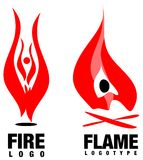 Flame fire logo. Logo  set of stylized fire flames Royalty Free Stock Image