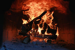 Flame fire in the oven Royalty Free Stock Images