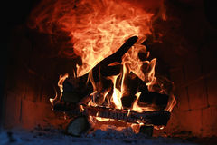 Flame fire in the oven Royalty Free Stock Photos
