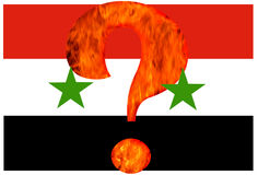 Question of Syria war. Flame fire, flag. Royalty Free Stock Photo