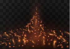 Flame of fire with sparks on a black background. The texture of the fiery storm.a shot of a flying spark in the air.over. Flame of fire with sparks on a black Royalty Free Stock Photos