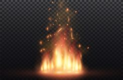 Flame of fire with sparks on a black background. The texture of the fiery storm.a shot of a flying spark in the air.over. Flame of fire with sparks on a black Royalty Free Stock Photo