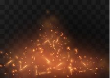 Flame of fire with sparks on a black background. The texture of the fiery storm.a shot of a flying spark in the air.over. Flame of fire with sparks on a black Stock Photos