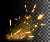 Flame of fire with sparks flying up glowing particles on dark transparent background.  Royalty Free Stock Photography