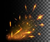 Flame of fire with sparks flying up glowing particles on dark transparent background.  Stock Photos