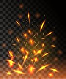 Flame of fire with sparks flying up glowing particles on dark transparent background.  Stock Photography