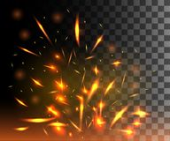 Flame of fire with sparks flying up glowing particles on dark transparent background.  Stock Image