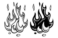 Flame of fire stylized sketch stock photo