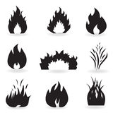 Flame and fire symbols. And icons Royalty Free Stock Photos