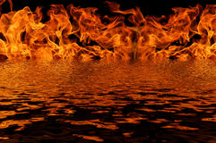 Flame fire water reflection Royalty Free Stock Photos
