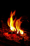 Flame in the fireplace. The cozy warm fire in your home fireplace Stock Image