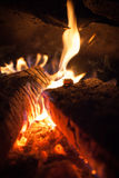 Flame in a Fireplace Royalty Free Stock Photography