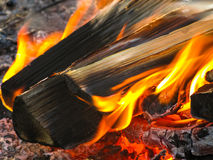 Flame in fireplace, Mari El, Russia Royalty Free Stock Photography