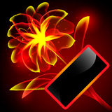Flame flower with frame. Flame flower with black frame. Vector illustration Stock Image