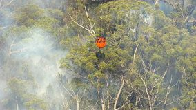 A flame on forest with smoke getting watered. A birds eye view shot of mountains and trees with smoke and a fire on trees. Camera zooms in to the smoke stock footage