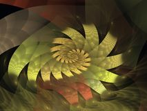 Yellow Fanned Spiral Flame Fractal vector illustration