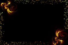 Flame fractals. Beautiful background with a fiery fractals on black and the frame of triangles Stock Image
