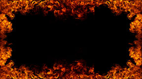 Flame frame. Isolated flame on black background Royalty Free Stock Photo