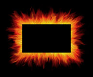 Flame frame. Fire flames on black background Royalty Free Stock Photo