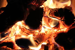 The flame in the furnace. Burning wood in stone oven Royalty Free Stock Images