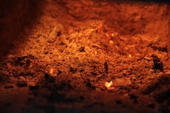 The flame in the furnace. Burning wood in stone oven Stock Photo