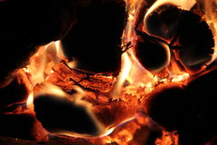 The flame in the furnace. Burning wood in stone oven Stock Images