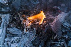 Flame of Garbage Fire in Steel Barrel Stock Image