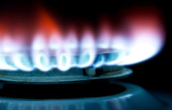 Flame of a gas cooker Royalty Free Stock Images
