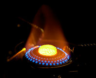 Flame in gas stove Stock Photos