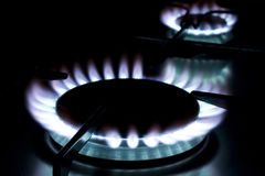 Flame on gas stove Royalty Free Stock Photo