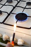 Flame of a gas stove. Gas stove flame after ignition Royalty Free Stock Photo
