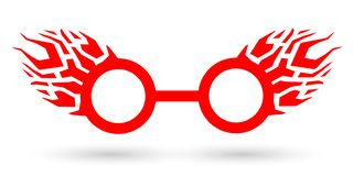 Flame Glasses icon flat, art style, thug lifestyle stock illustration