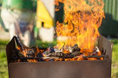 Flame Grill. Fire in the grill cook Royalty Free Stock Images