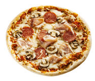 Flame grilled appetizing Italian pizza Stock Image