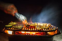 Flame Grilled Beach BBQ royalty free stock photo
