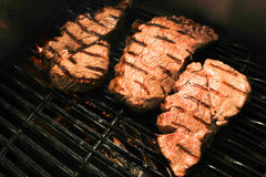Flame grilled meat on a grill Royalty Free Stock Photography