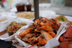Flame-grilled shrimps Stock Photography