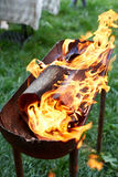Flame grilled and wood burning in fire Stock Image