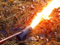 Flame Gun or flame thrower. Flame gun/thrower after coil warmed up and flame roaring out of the front Stock Images