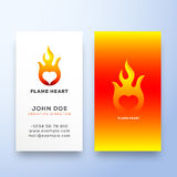 Flame Heart Abstract Vector Sign, Symbol or Logo Template and Business Card. Negative Space Emblem Stationary Concept. Isolated Royalty Free Stock Photography