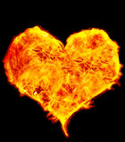 Flame Heart on Black. Background Stock Image