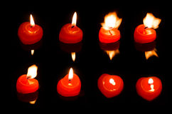 Flame  from heart candle Royalty Free Stock Image