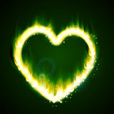 Flame heart on the dark Royalty Free Stock Images